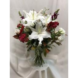 Bouquet en blanco y rojo